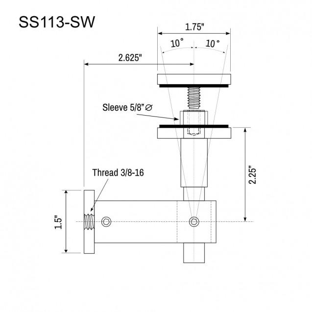 Glass Panel Bracket - Swivel SS113-SW