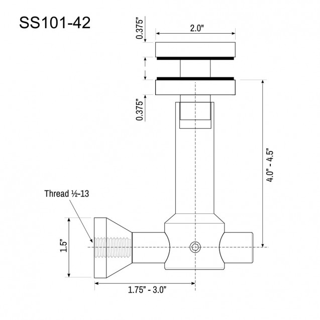 Glass Panel Canopy Bracket SS101-42