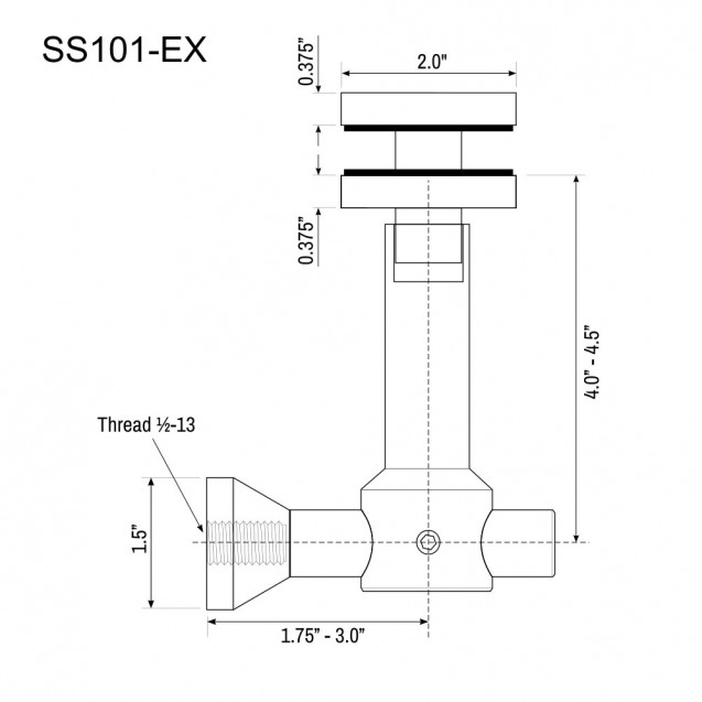 Glass Panel Canopy Bracket SS101-EX